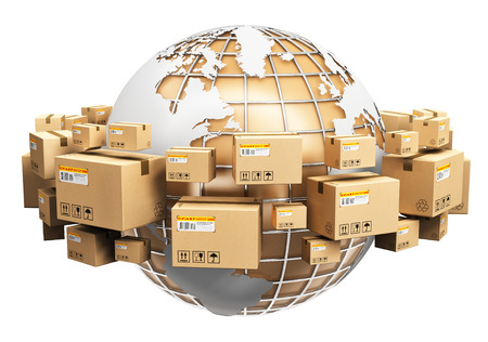 53455696 - creative abstract global logistics, shipping and worldwide delivery business concept: earth planet globe surrounded by heap of stacked corrugated cardboard boxes with parcel goods isolated on white background